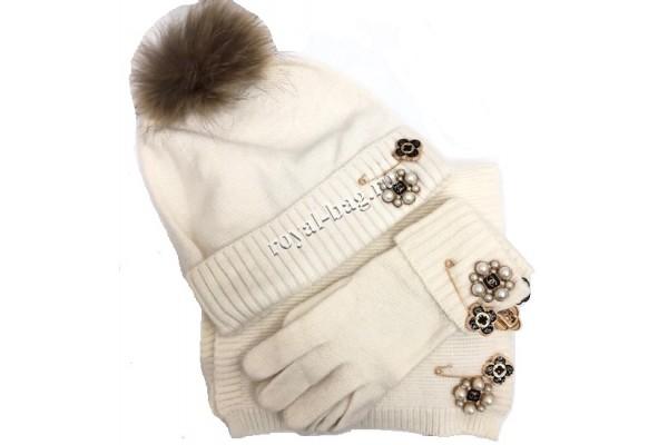 Комплект: перчатки, шапка, шарф Chanel 5456-luxe-R