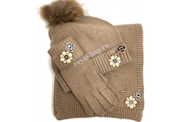 Комплект: перчатки, шапка, шарф Chanel 5456-luxe2R