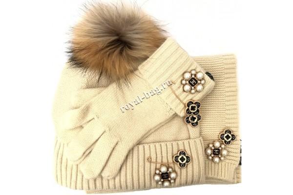 Комплект: перчатки, шапка, шарф Chanel 5456-luxe4R