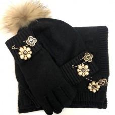 Комплект: перчатки, шапка, шарф Chanel 5456-luxe5R