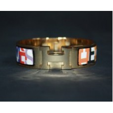 Браслет Hermes Wide Gold Enamel  1228R