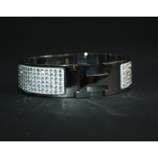 Браслет Hermes Wide Silver Enamel Bracelet 1240-1R