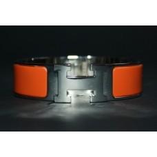 Браслет Hermes Wide Silver Enamel Bracelet 1212R