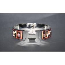 Браслет Hermes Wide Silver Enamel Bracelet 1202-1R